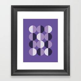 Retro circles grid purple Framed Art Print