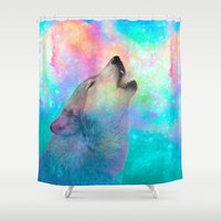 hobbes Shower Curtains featuring Breathing Dreams Like Air (Wolf Howl Abstract) by soaring anchor designs