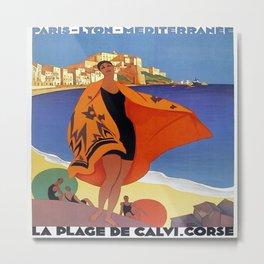Vintage poster - La Plage de Calvi, La Corse, France Metal Print