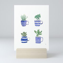 Blue stripes and herbs quartet Mini Art Print