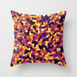 Stained glass colorful voronoi, vector eps abstract. Irregular cells background pattern. 2D Geometri Throw Pillow