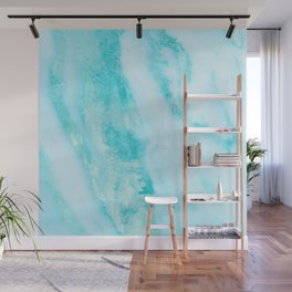 Shimmery Teal Ocean Blue Turquoise Marble Metallic Wall Mural
