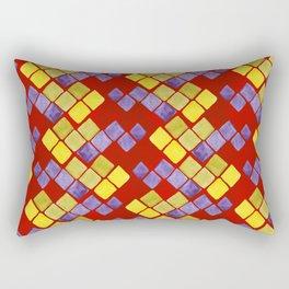 Blue yellow gold mosaic pattern on metallic red Rectangular Pillow
