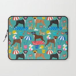 Boxer dog breed beach summer fun dogs boxers pet portrait pattern Laptop Sleeve