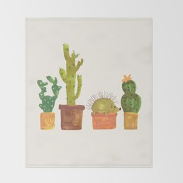 Hedgehog and Cactus (incognito) Throw Blanket