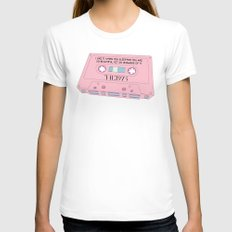 Cassete Tape White LARGE Womens Fitted Tee