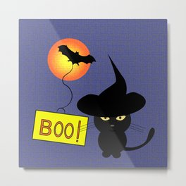 Cute cat trying to be scary for Halloween Metal Print