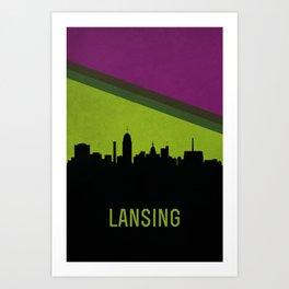 Lansing Skyline Art Print
