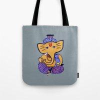 ganesha Tote Bags featuring Ganesha by Vanya