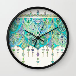 Art Deco Double Drop in Jade and Aquamarine on Cream Wall Clock