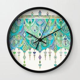 Art Deco Double Drop in Jade and Aquamarine on Cream Wall Clock