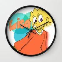 simpson Wall Clocks featuring Lisa Simpson by Burgandy Balloons