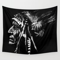 native american Wall Tapestries featuring Native American by Sandy Elizabeth