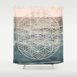 Mandala Flower of Life Sea Shower Curtain