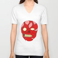 naked V-neck T-shirts featuring Naked Face by  Grotesquer