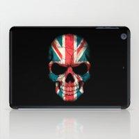 british flag iPad Cases featuring British Flag Skull on Black by Jeff Bartels