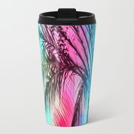 isolate palm tree with painting abstract background in pink and blue Travel Mug