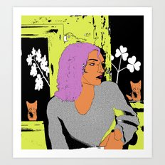 Cat Lady Dark Neon Art Print
