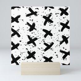 X Paint Spatter Black and White Mini Art Print
