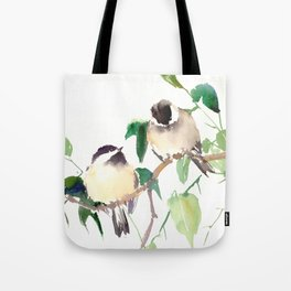 Chickadees, birds on tree, bird design neutral colors Tote Bag
