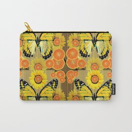 YELLOW MONARCH BUTTERFLY & ORANGES MODERN ART Carry-All Pouch