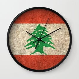 Old and Worn Distressed Vintage Flag of Lebanon Wall Clock