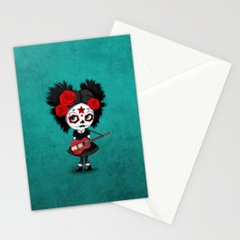 Day of the Dead Girl Playing Latvian Flag Guitar Stationery Cards