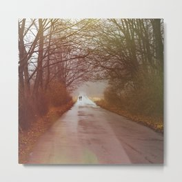 Winter Forest Road - Red Nature Landscape Metal Print