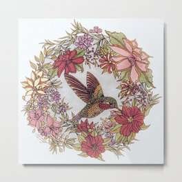 Hummingbird In Flowery Garden Wreath Metal Print