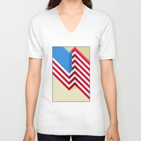 flag V-neck T-shirts featuring Flag by Ryan Winters