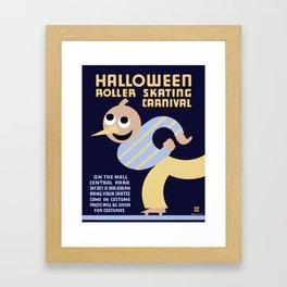 Halloween Roller Skating Carnival Poster, NYC, 1936 Framed Art Print