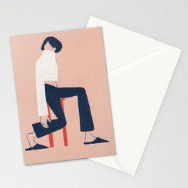 Minimalist on a Red Stool Stationery Cards