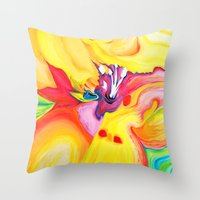 secret life Throw Pillows featuring The Secret Life Of Lily by Susi Franco