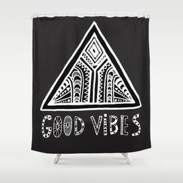 Feel Good Vibes Black White mindset 2 Shower Curtain