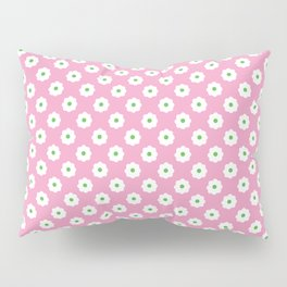 60s Ditsy Daisy Floral in Mod Pink Pillow Sham