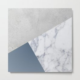 NAVY BLUE MARBLE GRAY GEOMETRIC Metal Print