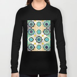 Marrakesh gold and blue geometry inspiration Long Sleeve T-shirt