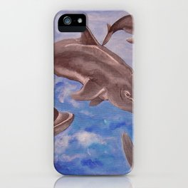 A Pod of Playful Jumping Dolphins iPhone Case