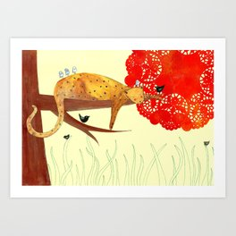 Sleeping Leopard Art Print