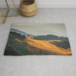 Parallax Landscape Rolling Hills Photo Nature In Morning Sunlight Rug