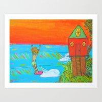 hang 10 surf dude tree house living Art Print