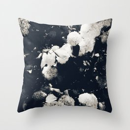 High Contrast Black and White Snowballs II Throw Pillow