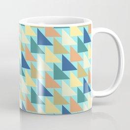 Blue Geometric Triangles Autumn Brown Coffee Mug