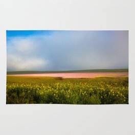 Land of Plenty- Field of Pink and Yellow Flowers in Nebraska Rug