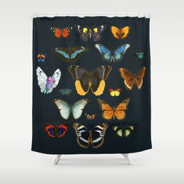 Entomology Vintage Butterfly Shower Curtain