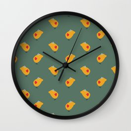 Sunny Family girl hand drawn home decor and textile design kids pattern on olive Wall Clock