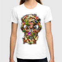 animal skull T-shirts featuring Floral Flower animal skull kingdom by KomarWork