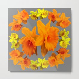 YELLOW-GOLD SPRING DAFFODILS & CHARCOAL GREY COLOR Metal Print