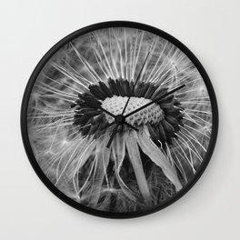 Dandelion Black and White Photography | Nature Art | Plant | Botanical | Wish Wall Clock