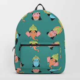 Turquoise Krishna, Ganesha, and Hanuman pattern Backpack